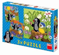 DINO Krtko a vtáčik puzzle, 3x 55 dielikov