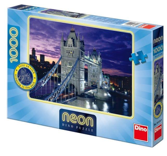 Dino Tower Bridge neon puzzle, 1000 dílků