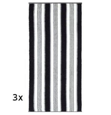 Cawö Frottier Streifen Fekete-fehér törölköző - Paraméterek  44f59a4c61