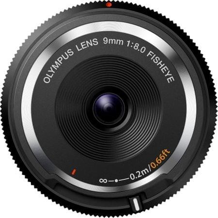 Olympus ploski objektiv BCL-0980 9 mm 1 : 8,0, črn