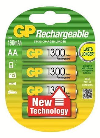 GP Baterija polnilna Ni-Mh AA 1300 mAh, 4 kom