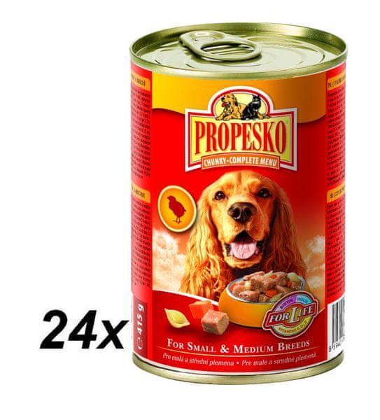 Propesko kousky pes kuře+mrkev+těstovina 24 x 415g