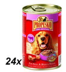 Propesko mokra karma w puszkach - wołowina, dziczyzna, kurczak - 24 x 415 g