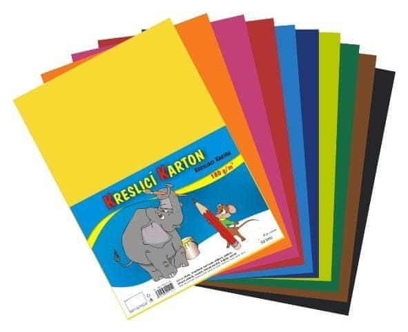 Karton kreslicí barevný mix A4 180g / 10x5 listů