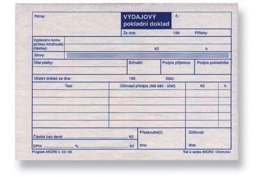 Výdajový pokladní doklad pro plátce DPH, A6, blok 100 L, samopropisovací