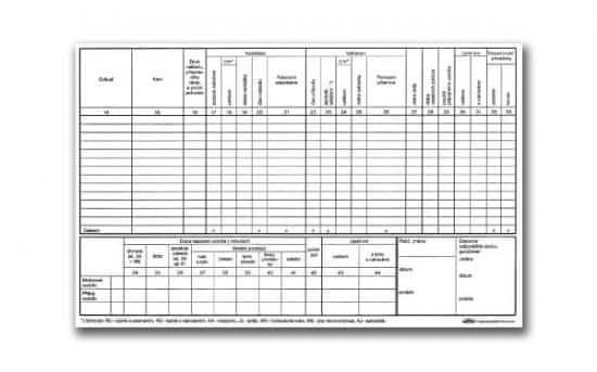 Záznam o provozu vozidla nákladní dopravy A4, číslovaný, blok 2 x 50 L