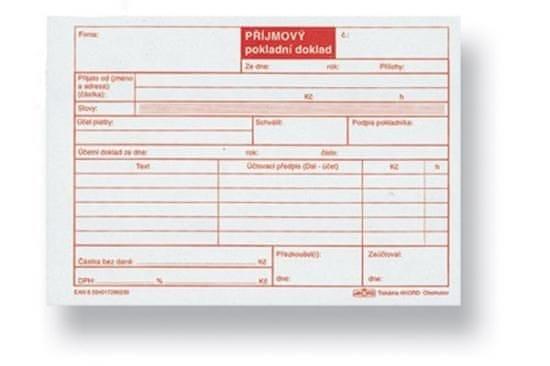 Příjmový pokladní doklad bez DPH, A6, blok 100 L, samopropisovací