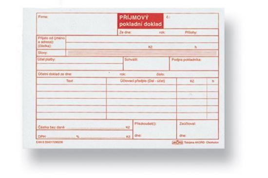 Příjmový pokladní doklad pro plátce DPH, nečíslovaný, A6, blok 100 L, samopropisovací, typ A