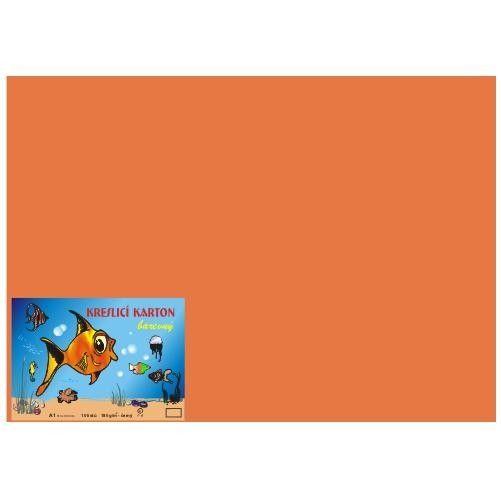 Karton kreslicí barevný A4 180g / 50l oranžový