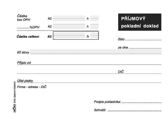 Příjmový pokladní doklad pro jednoduché účetnictví, A6, blok 100 L, samopropisovací