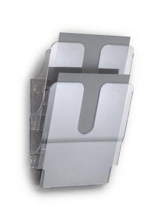 Durable stensko stojalo za prospekte Flexiplus, 2 predala, A4, prozorno