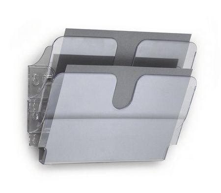 Durable Stensko stojalo za prospekte Flexiplus, 2 predala, A4, prozoren, ležeč