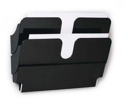 Durable Stensko stojalo za prospekte Flexiplus, 2 predala, A4, črn, ležeč
