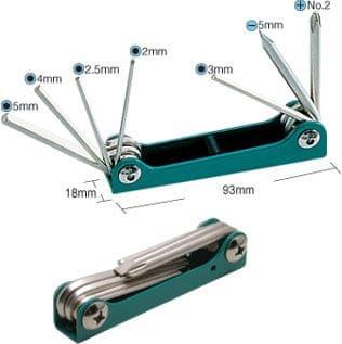 Izvijači in imbus ključi, 7-delni zložljiv set