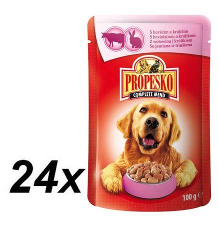 Propesko hrana za odrasle pse, govedina in zajec, 24 x 100g