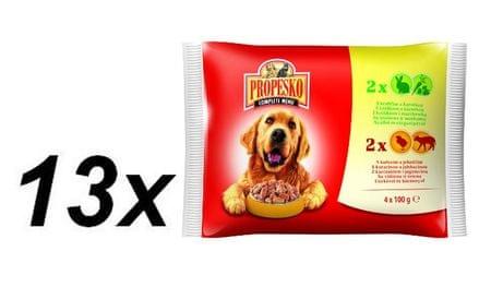 Propesko mokra hrana za pse, zajec + zelenjava + piščanec + jagnjetina, 13x (4 x 100g)