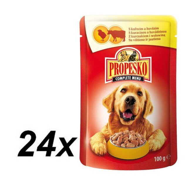 Propesko kapsa pes kuře+hovězí 24 x 100g