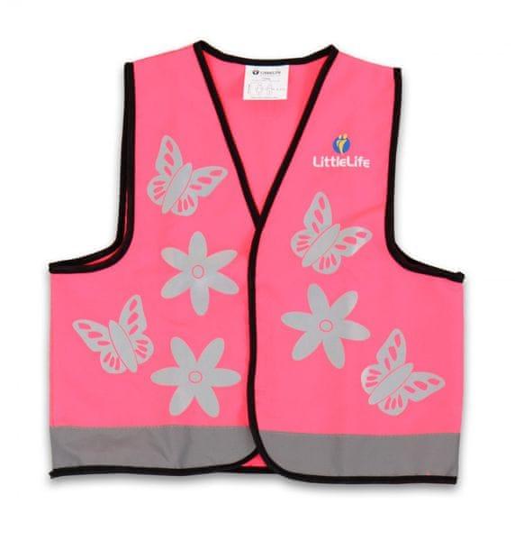 LittleLife Reflexní vesta růžová - Small