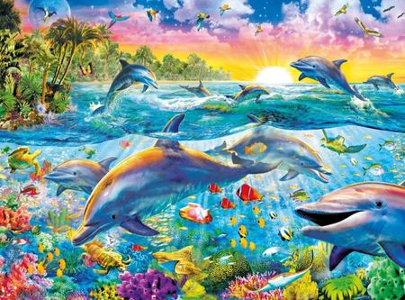 Clementoni Puzzle 500 Trópusi delfinek