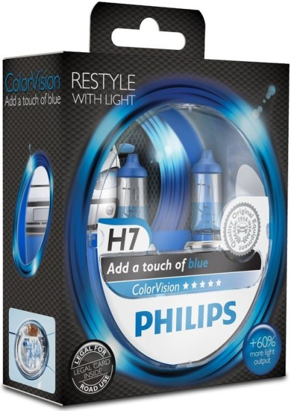 Philips ColorVision Modrá H7, 12 V, 55 W, 2 ks