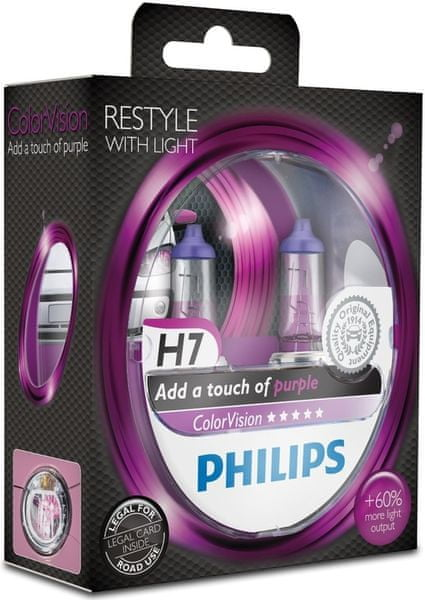 Philips ColorVision Fialová H7, 12 V, 55 W, 2 ks