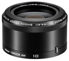Nikon objektiv 1 Nikkor AW 10 mm f/2.8, črn
