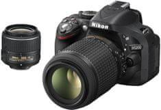 Nikon digitalni fotoaparat D5200, črn + 18-55 VR II + 55-200 VR