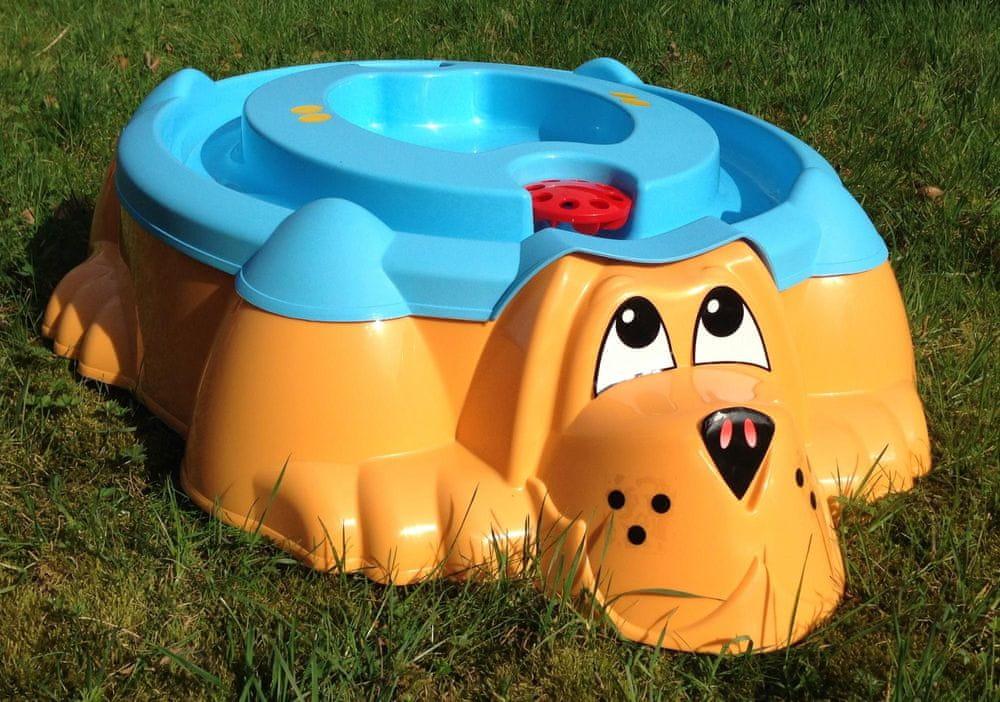 PalPlay Pískoviště-bazének Pes s krytem modrá/oranžová