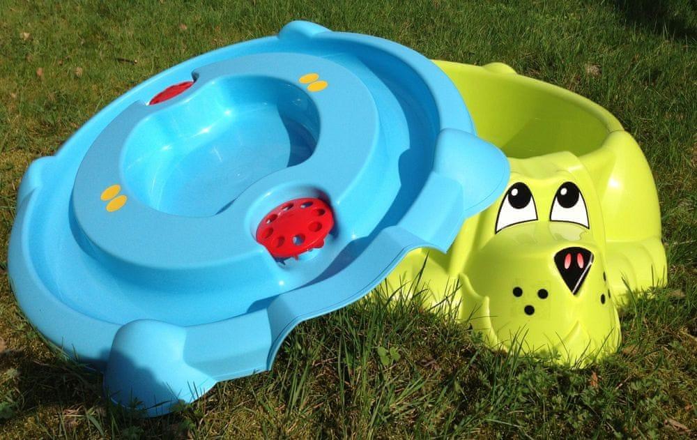 PalPlay Pískoviště-bazének Pes s krytem zelená/modrá