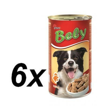 Akinu Bely szaftos csirkehúsos kutyakonzerv, 6 x 1250g