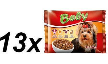Akinu mokra hrana za pse Bely, govedina, piščanec, teletina, jetrca, 13 x ( 4 x 100g)