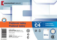 Poštovní taška C4 bílá rec. samolepicí s KP, 229 x 324 50 ks