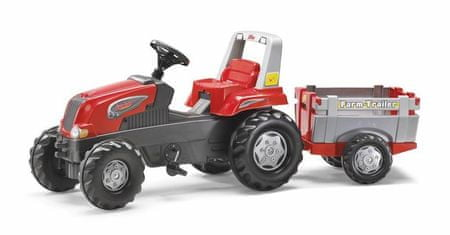 Rolly Toys traktor s prikolico na pedala Rolly Junior RT, rdeče-siv