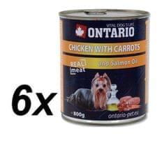 Ontario konzerva kuřecí, karotka a lososový olej 6 x 800g (5+1 Zdarma)