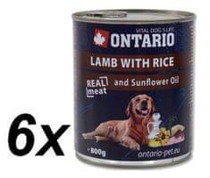 Ontario konzerva jehněčí, rýže a slunečnicový olej 6 x 800g (5+1 Zdarma)