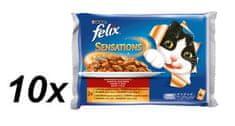 Felix Sensations csirke-paradicsom és kocsonya-sárgarépa macskaeledel - 10 x (4 x 100 g)