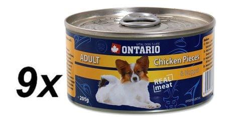 Ontario konzerva Dog Chicken Pieces+Chicken Nugget 9x200g