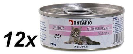 Ontario Konzerva Cat Junior Chicken Pieces+Shrimp 12 x 95g