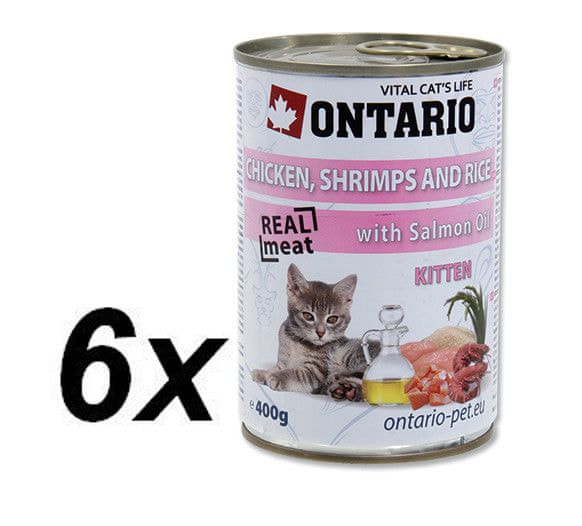 Ontario konzerva Kitten Chicken,Shrimp,Rice and Salmon Oil 6x400g