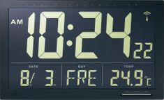 Conrad Digitálne nástenné DCF hodiny Jumbo s vnútornou teplotou