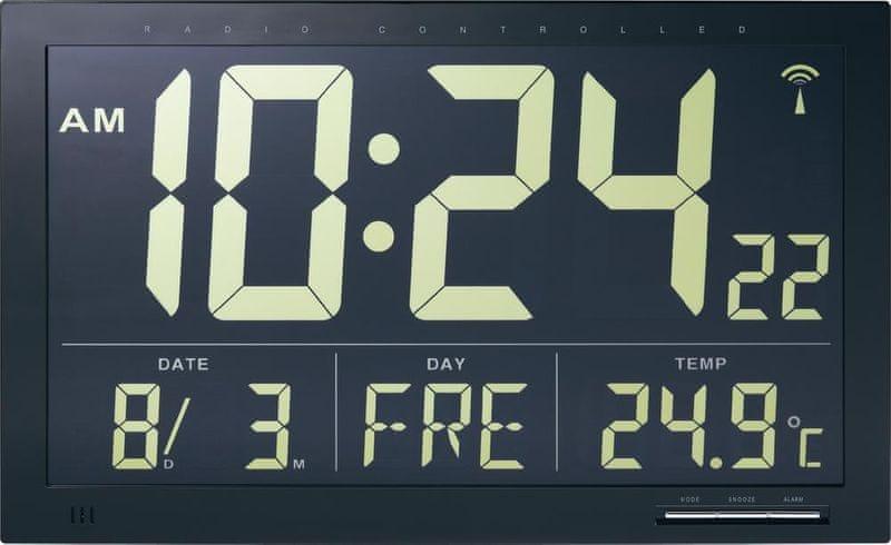 Conrad Digitální nástěnné DCF hodiny Jumbo s vnitřní teplotou