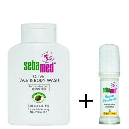 Sebamed čistilna emulzija za obraz in telo z olivnim oljem + Roll-On deodorant Sensitive