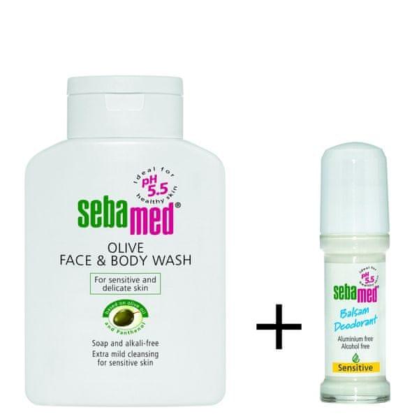 Sebamed Mycí emulze na obličej a tělo s olivovým olejem 200 ml + Roll-on Balzám Sensitive 50 ml