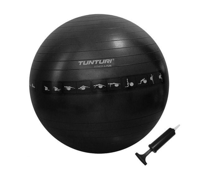 Tunturi Gymnastický míč zesílený 65cm černý s pumpičkou