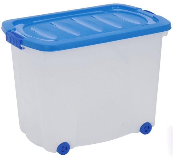 KAISERHOFF Úložný plastový box na kolečkách s víkem, 60 l modrá