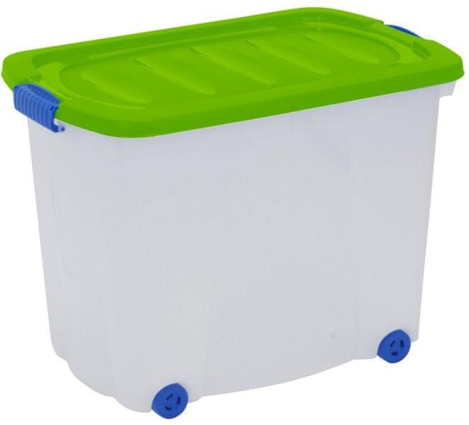KAISERHOFF Úložný plastový box na kolečkách s víkem, 60 l zelená