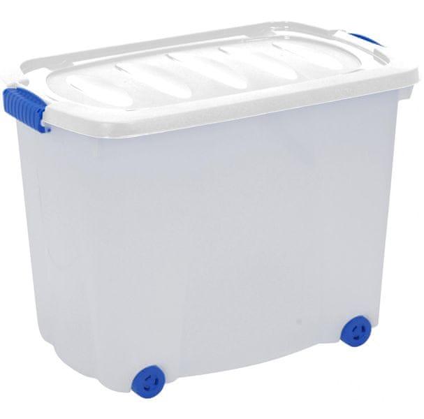 KAISERHOFF Úložný plastový box na kolečkách s víkem, 60 l bílá