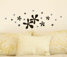 Crearreda stenska dekorativna nalepka 3D, črne rožice (59505)