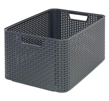 Curver škatla za shranjevanje, ratan, L, siva