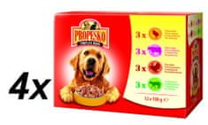 Propesko mokra hrana za pse, piščanec + govedina + puran + jagnjetina 4 x ( 12 x 100g )